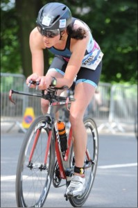 Rachel Hawker participating in the bike section of the Colombia Threadneedle Leeds Triathlon which incorporated the British 20-24 year Womens category which Rachel won